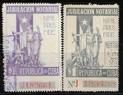 Caribbean lot of 2 Notarial Retirement revenue stamps, 1940s