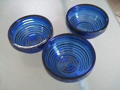 3 TAG Cobalt Blue Glass Bowls Recycled Product  NEW