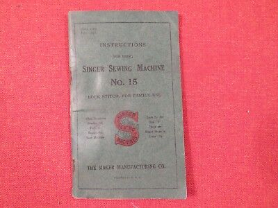 Vintage Manual for Singer Oscillating Shuttle Sewing Machine No. 15 1920 Rare