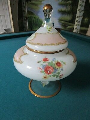 """Large Footed Covered Glass Vase Centerpiece Candy Dish Italy 13X9"""" [*D1]"""