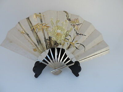 VERY LARGE EXQUISITE VINTAGE SIGNED JAPANESE STERLING SILVER FAN 179 gr 6.3 OZ