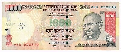 2009 INDIA 1000 RUPEES NOTE - p100