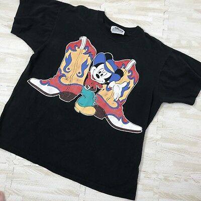 RARE Mickey Mouse By Jerry Leigh Vintage 90s Big Cowboy Graphic T Shirt OSFA
