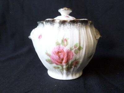 Crown Ducal. Sugar Bowl & Lid. (Rose Theme). Made In England.