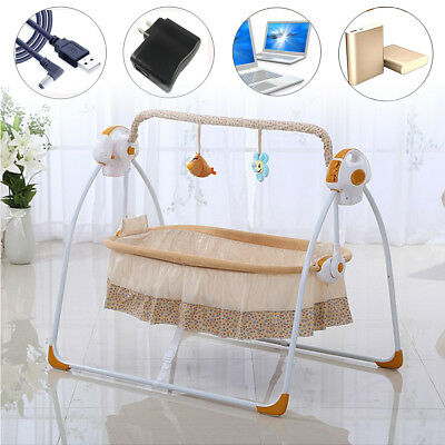 Baby Auto-Swing Bed Big Space Electric USB Crib Cots Cradle Infant Rocker Cradle