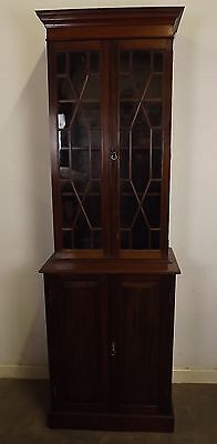 Antique Victorian Astral-Glazed Slim Mahogany Bookcase Cabinet Lovely Quality