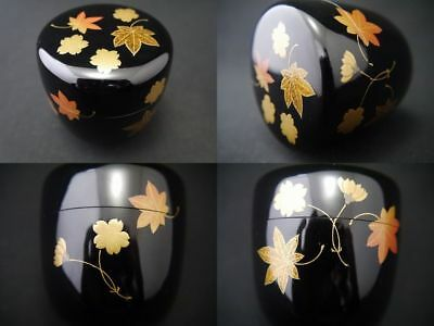Japanese Lacquer Wooden Tea Caddy SPRING & AUTUMN makie Chu-Natsume (0129)