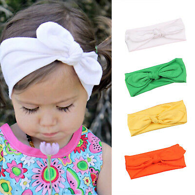 UK Girls Kids Baby Cotton Bow Hairband Headband Sweet Turban Knot Head Wrap