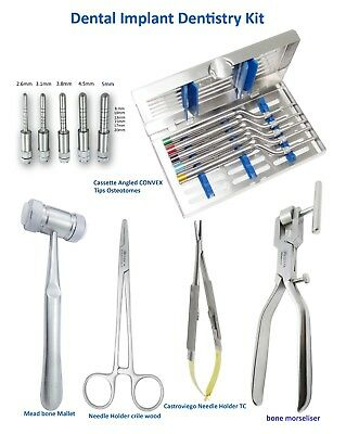Dental Implant Kit Osteotomes Convex, Castroviego, Bone Morselizer,Needle Holder