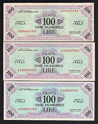 ITALY P-M21. Allied Military Currency. 1943-A 100 Lire x 3.. A,B & C Suffixes