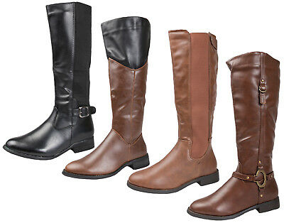 Womens Faux Leather Riding Boots Two Tone / Stirrup Flat Biker Knee High Size