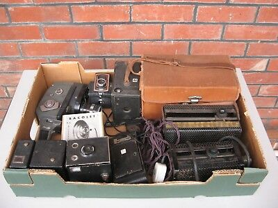 Job Lot Vintage box folding cine film Cameras , and  other photographic items