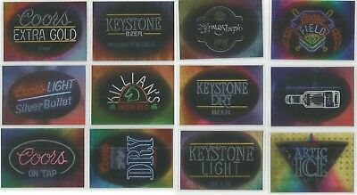 1995 Coors Brewing Beer set of 12 Bright Lights chase insert cards