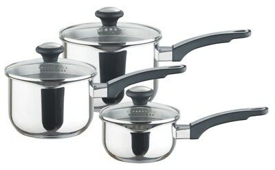Everyday Stainless Steel Cookware Set 14,16,18cm saucepans