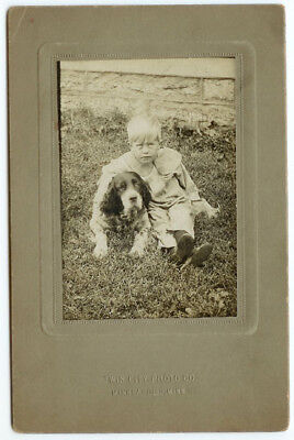 VINTAGE RARE YOUNG MAN AND DOG CANINE: Child and Cocker Spaniel Cabinet Card