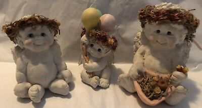 Cast Art Dreamsicles Lot Of 3 Cherubs Figurines Green & Pink Ribbons