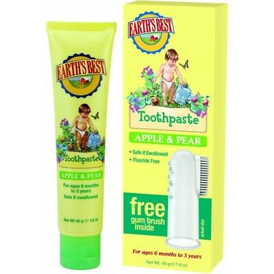 Earth's Best Natural Kid's Toothpaste Apple & Pear 45g UK Stock - Fresh