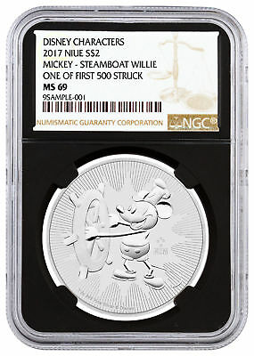 2017 1 oz Silver Mickey Mouse Steamboat Willie $2 NGC MS69 1st 500 Blk SKU45494