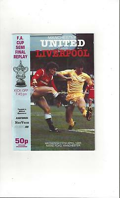 Manchester United v Liverpool FA Cup Semi Final Replay Programme 1985 @ Man City