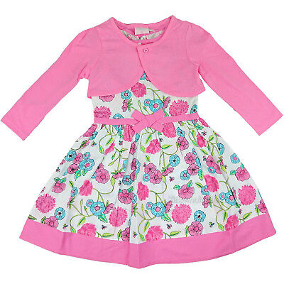 Girls 2 Piece Woven Pink Floral Dress & Bolero Outfit (4-5 or 6-7 Years)