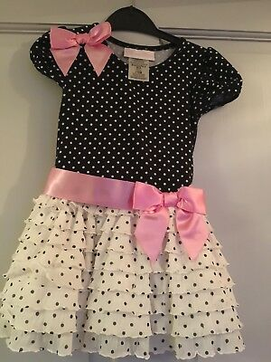 Beautiful Baby Girls Black White Spotty Party Dress Bonnie Baby 12-18 Months