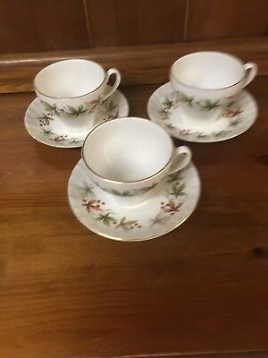 Ridgeway Potteries Ellesmere 3 Tea Cups and Saucers