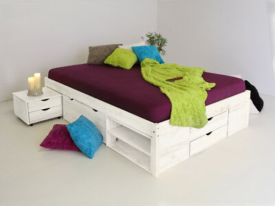 claas funktionsbett doppelbett bett mit stauraum schubladen kiefer wei 180x200 eur 399 00. Black Bedroom Furniture Sets. Home Design Ideas