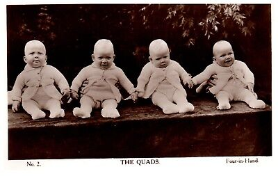 Postcard The Quads 4 Babies Four in Hand Valentines Early Card RPPC 22