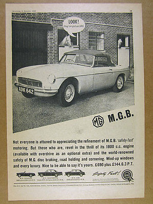 1963 MG MGB car photo UK British vintage print Ad