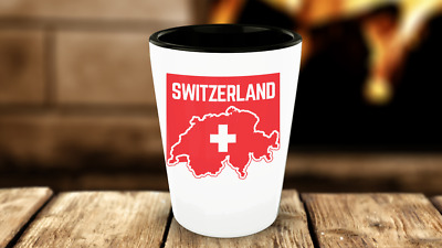 Switzerland Flag-Swiss Flag-Shot Glass-Swiss Pride-White Ceramic