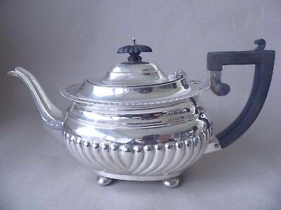Chester Large Edwardian Sterling Silver Fluted Gadrooned Teapot 1909