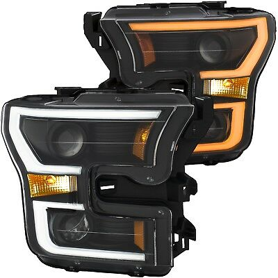 Anzo 111357 Pair of Black Projector Plank Style Switchback Headlights for F-150