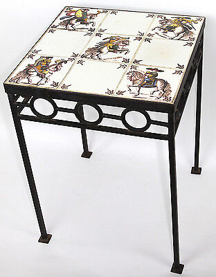 Wrought Iron Table with 9 Delft 19th c Colored Tiles of Renaissance Horse Riders