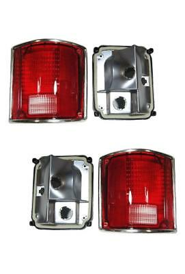 1973-1991 Chevy GMC Truck For Tail Lights Lens And Housing Pair Chrome Trim Nice