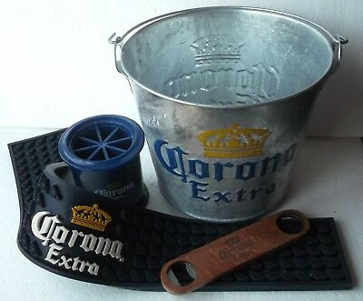 biere Corona ensemble tapis de Bar, seau zinc, decapsuleur, coupe citron.