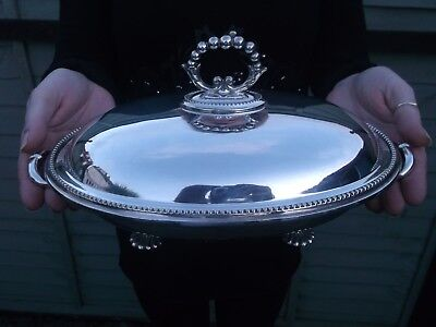 Antique Silver Plate Tureen Dish Vegetable Late Vic - Edwardian 3 Part Drainer