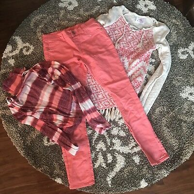 Girls Size 14/16 Lot Of Justice And Rue 21 Sweaters Pants Leggings