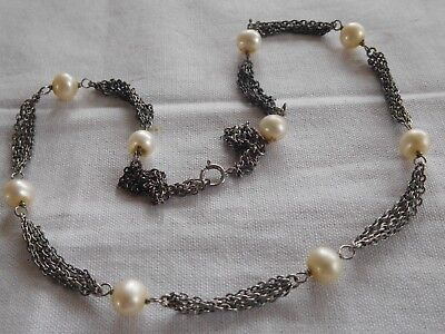 Vintage 1960s Sterling Silver Chain Necklace with real genuine CULTURED Pearls