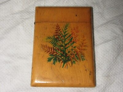"Antique Mauchline Fern Ware - Victorian Large Card Case - 4½"" x 3"""