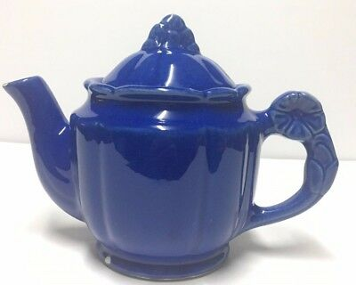 Vintage Ceramic Blue Tea Pot w/ Flowered Handle Holds 3 Cups Marked USA