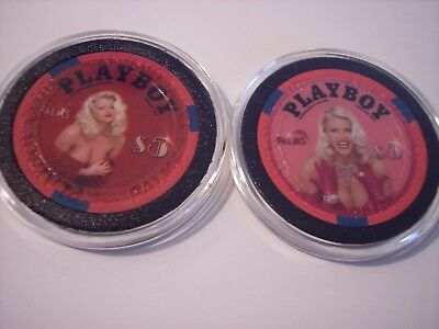 2 Different $5 Palms Casino Chip Playboy Playmate  Anna Nicole Smith  LE Unc