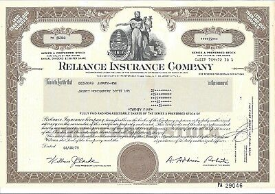 Reliance Insurance Company......1978 Preferred Stock Certificate