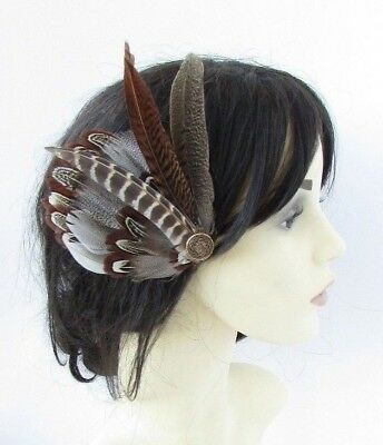 White Brown Bronze Gold Pheasant Feather Fascinator 1940s Hair Clip Races 5261