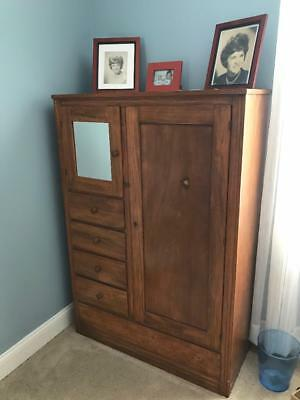 Antique/vintage Wardrobe with mirror, hanging, drawers
