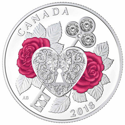 2018 Canada Celebration Love Silver PF $3 Made with Swarovski Crystals SKU52351