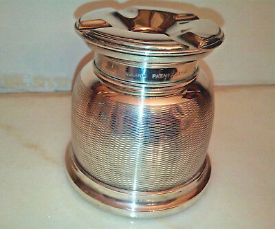 ANTIQUE ART DECO SOLID SILVER ENGINE TURNED ASH TRAY BY WILIAM SUCKLING Ltd-1930