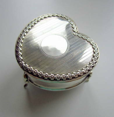 Beautiful Solid Sterling Silver Heart Box Boots Pure Drug Co Art Nouveau 1914, G