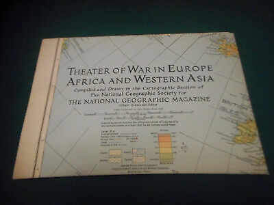 Vtg. 1942 National Geographic Map THEATER of WAR in EUROPE-AFRICA-W. ASIA - WWII