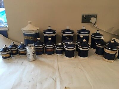 collection of twenty C19th chemist's jars and covers Blue White Decorative