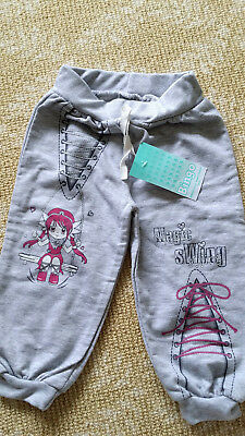 NEW Baby Boy Girls Trackie Tracksuit Pants Grey Soft Stretch Cotton 3-9months
